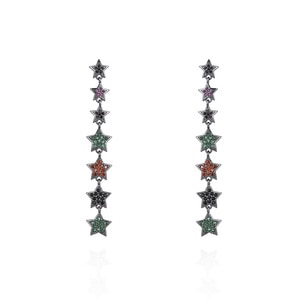 Five-pointed star colored zircon female earrings, copper micro-inlaid zircon mid-length earrings, factory direct sales