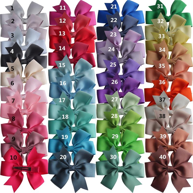 40 pcs Baby Girls Pinwheel Hair Bow 3.5'' Hairbow Hair Clips Accessories Headwear Boutique Grosgrain Dovetail Hair Bow Hairpins