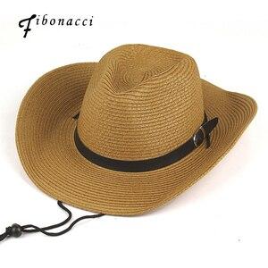 Fibonacci New Summer Sun Hats Men Brown Panama Western Cowboy Hat Folding Wide Brim Straw Hat Casual Outdoor Sombrero Hat