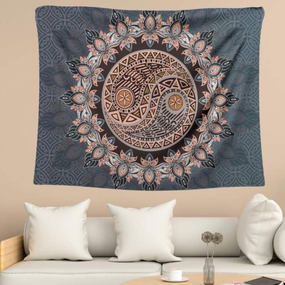 Gran tapiz de Mandala 100% poliéster Tai Chi tapices florales para colgar de pared Bohemia Yoga Mat alfombras de pared decoración arte