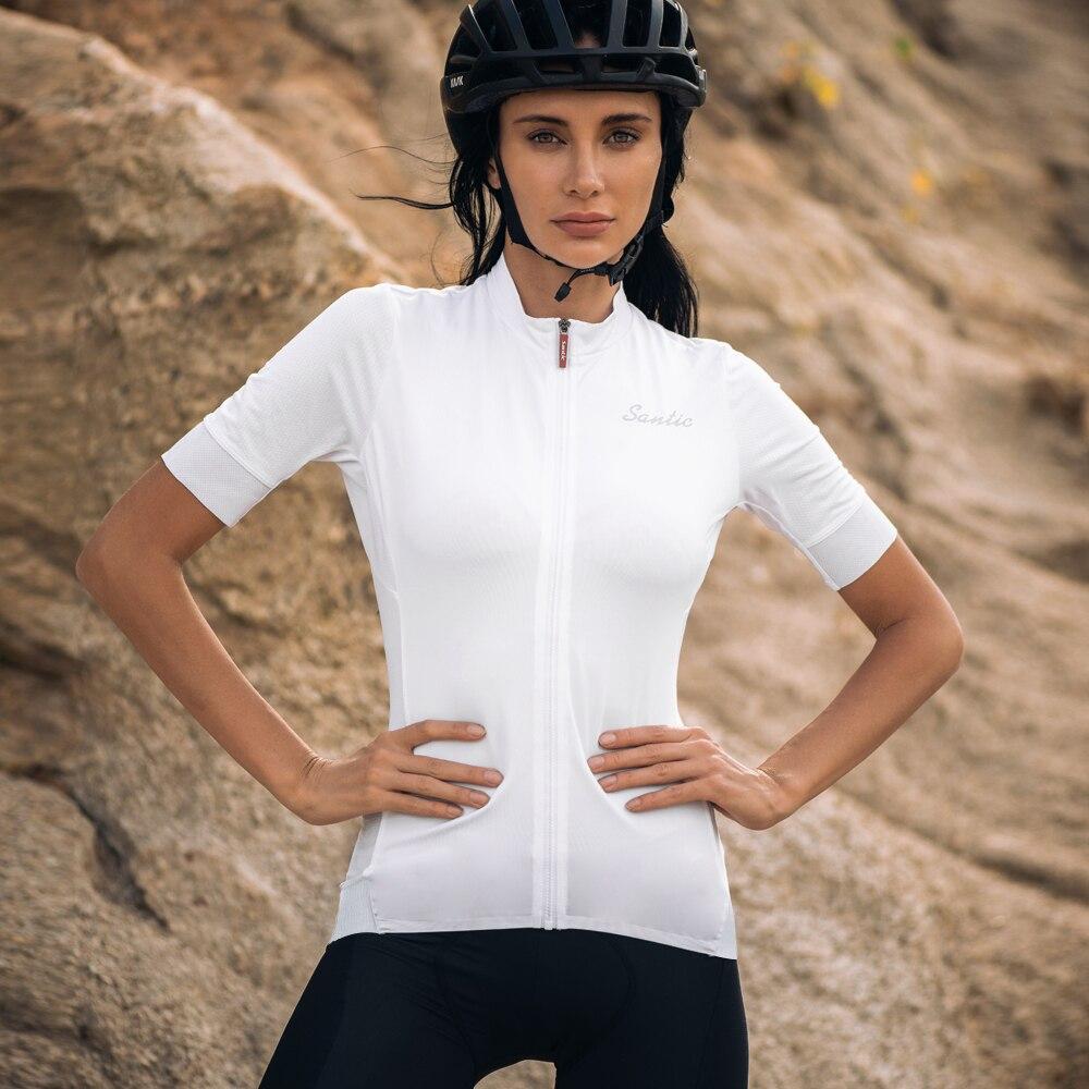 Camisa de Ciclismo Camisa da Bicicleta Santic Mulheres Ajuste Estrada Mtb Manga Curta Verão Respirável L0c02156 S-3xl Pro