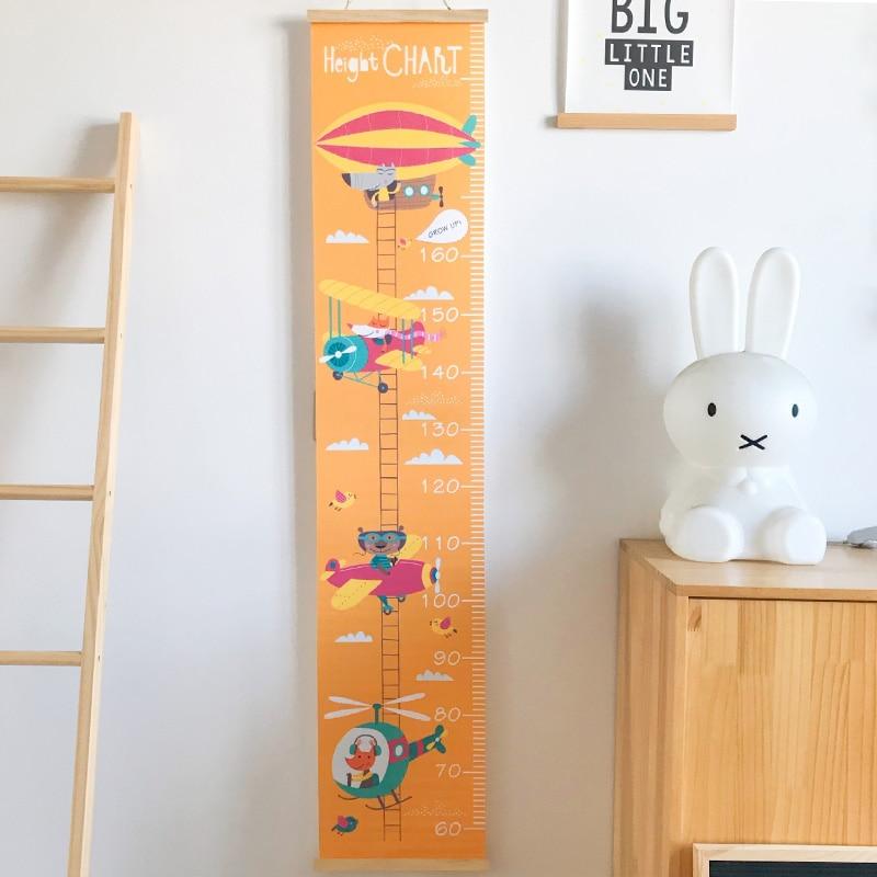 Kids Growth Chart Ruler Cartoon Wood Frame Canvas Wall Hanging Height Measurement Girl Boys Bedroom Nursery Decorations 60-200CM