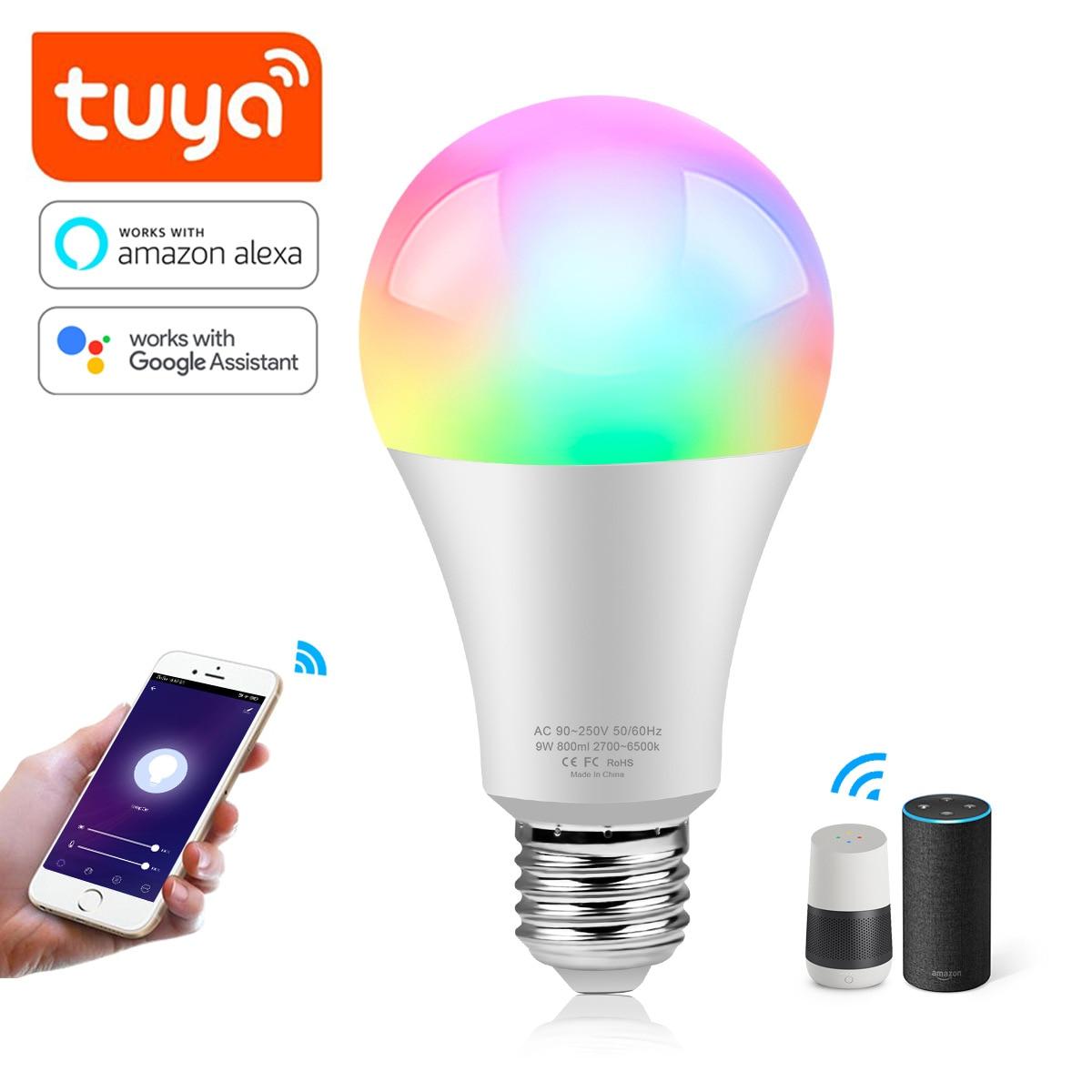 WiFi E27 LED Smart Light Bulb Color Changing Lamp Voice Control Alexa Google Home Assistant APP Tuya Remote Control Magical Bulb
