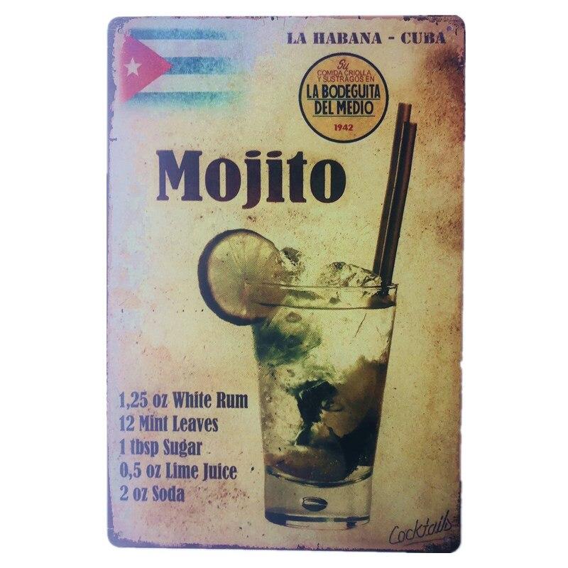 Mojito boisson métal décor signe Vintage Plaque Cocktail conseil pour hôtel musique Bar Restaurant décor
