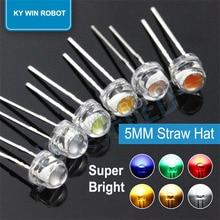 50PCS 5 millimetri Cappello di Paglia LED Diodo Luminoso Eccellente Bianco 0.3W 0.5W 0.75W F5 Potenza 0.5W Light Emitting Diode Rosso Giallo Verde Blu Caldo