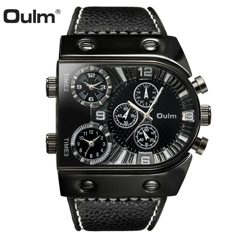 OULM Military Sports Men's Quartz Watches Top Luxury Big Case 3 Time Zone Fashion Casual Watch Men Creative Design Analog Clock