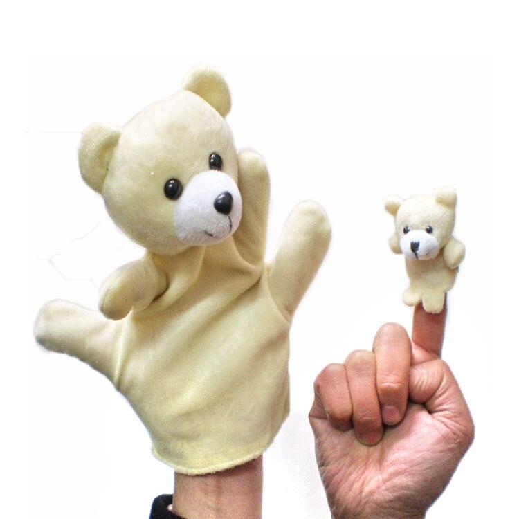 2 pçs/set grande & tamanho pequeno urso luva fantoche mão bonecas de pelúcia brinquedo do bebê animais de pelúcia brinquedo para crianças pai-criança primeira infância