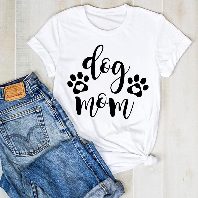 Women Lady Cartoon Dog Mom Paw Love Pet Cat Fashion Summer Ladies T Tee Tshirt Womens Female Top Shirt Clothes Graphic T-shirt