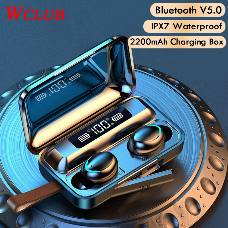 TWS Wireless Earphones Bluetooth 5.0 9D Bass Stereo Waterproof Earbuds Handsfree Sports Headset With