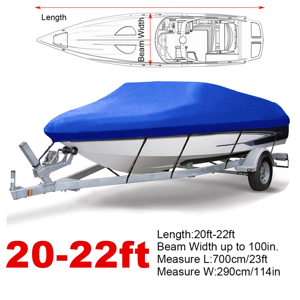 20-22ft 210D Blue Trailerable Boat Covers Water Rain Proof  UV Protector Speedboat Boat Cover Fishing Ski D35