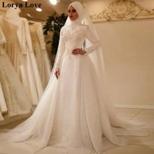 White/Ivory Summer Muslim Wedding Dresses Women 2020 Long Sleeves Plus Size Robe De Mariage Princesse Saudi Arabia Bridal Dress