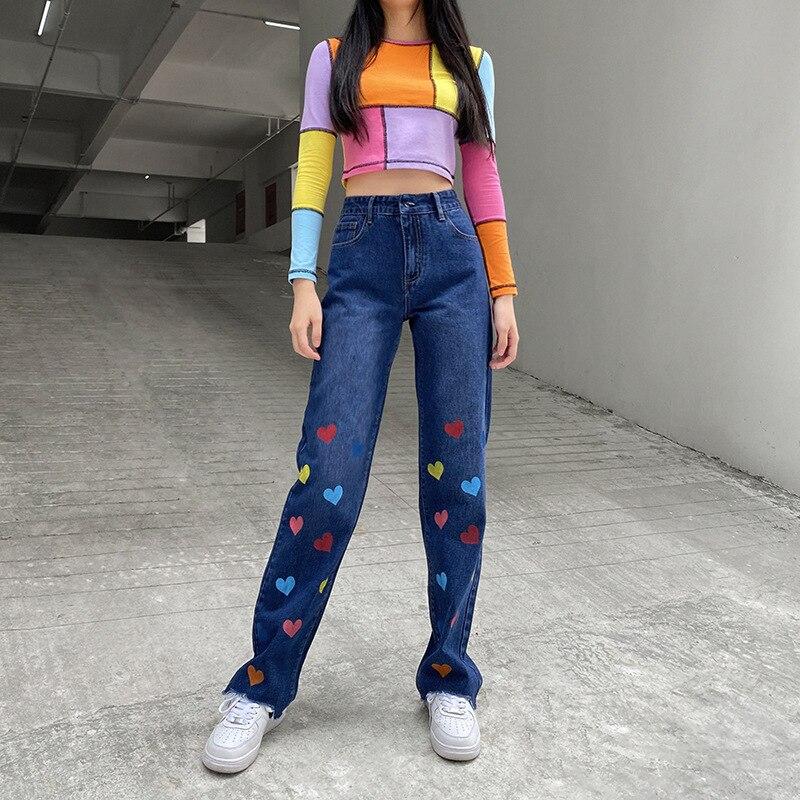Korean Heart Print Straight High Waist Jeans Women Sweet Cute Denim Pants Ladies Trousers Streetwear Jeans Bottom Clothes