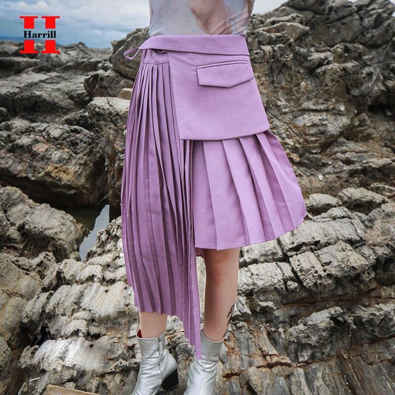 Falda de mujer a la moda faldas plisadas irregulares de verano ropa de mujer con encaje bolsillo diseño de retales Falda larga Maxi ropa de mujer