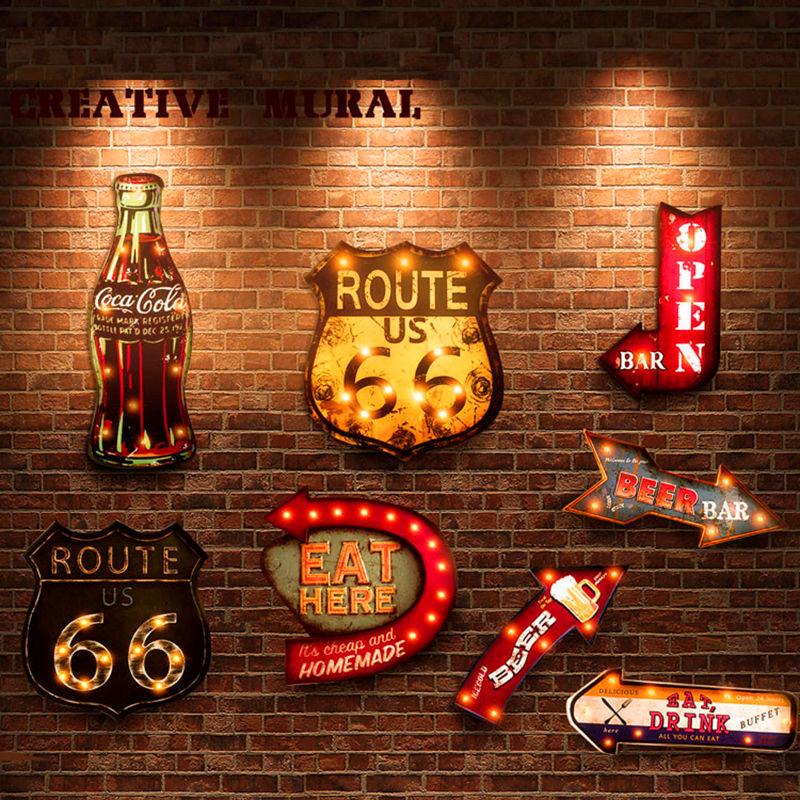 20 видов стилей винтажные светодиодные неоновые вывески, декоративная картина для паба, бара, ресторана, кафе, рекламные вывески, подвесные м...