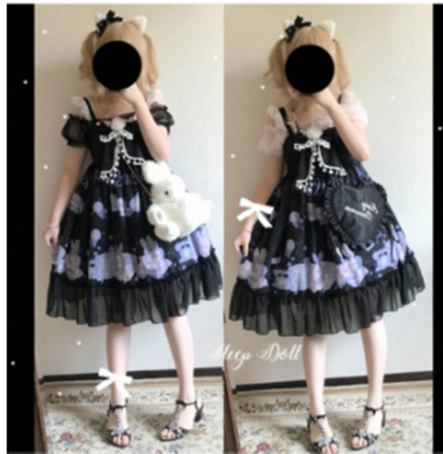 Kawaii girl princesa tea party vestido gótico lindo oso estampado cosplay jsk vintage lindo encaje bowknot alta cintura Retror vestido jsk