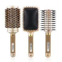 3 pcs gold professional hairdressing combs curved comb boar bristle hair round comb salon barber accessories hair styling brush