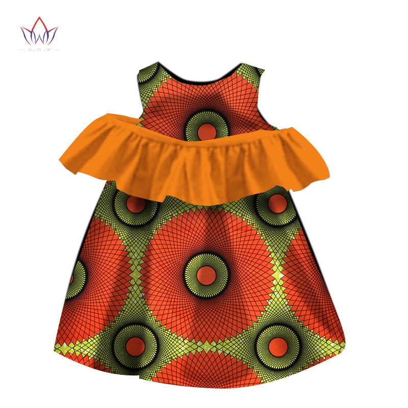 Nueva moda de África niños ropa Dashiki lindo vestidos de niñas Bazin volantes africano tradicional ropa WYT119