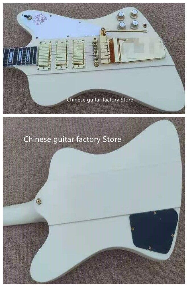 Guitarra Eléctrica Firebird de alta calidad de cuerpo metálico crema conexión de...