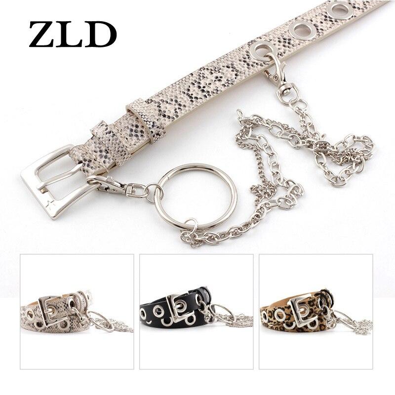 ZLD New Ring chain decoration Women's belt Fashion punk style leopard snake print belts All-match la