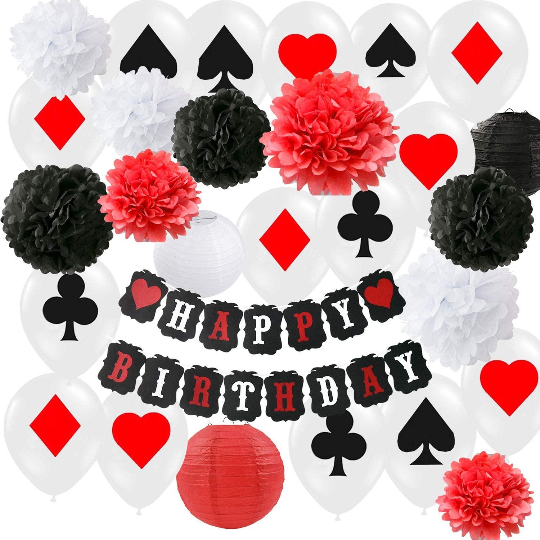 20 piezas decoraciones para fiesta de cumpleaños de Poker suministros para fiestas temáticas Casino suministros de decoración para Fiesta Casino tema Fiesta de noche de Casino