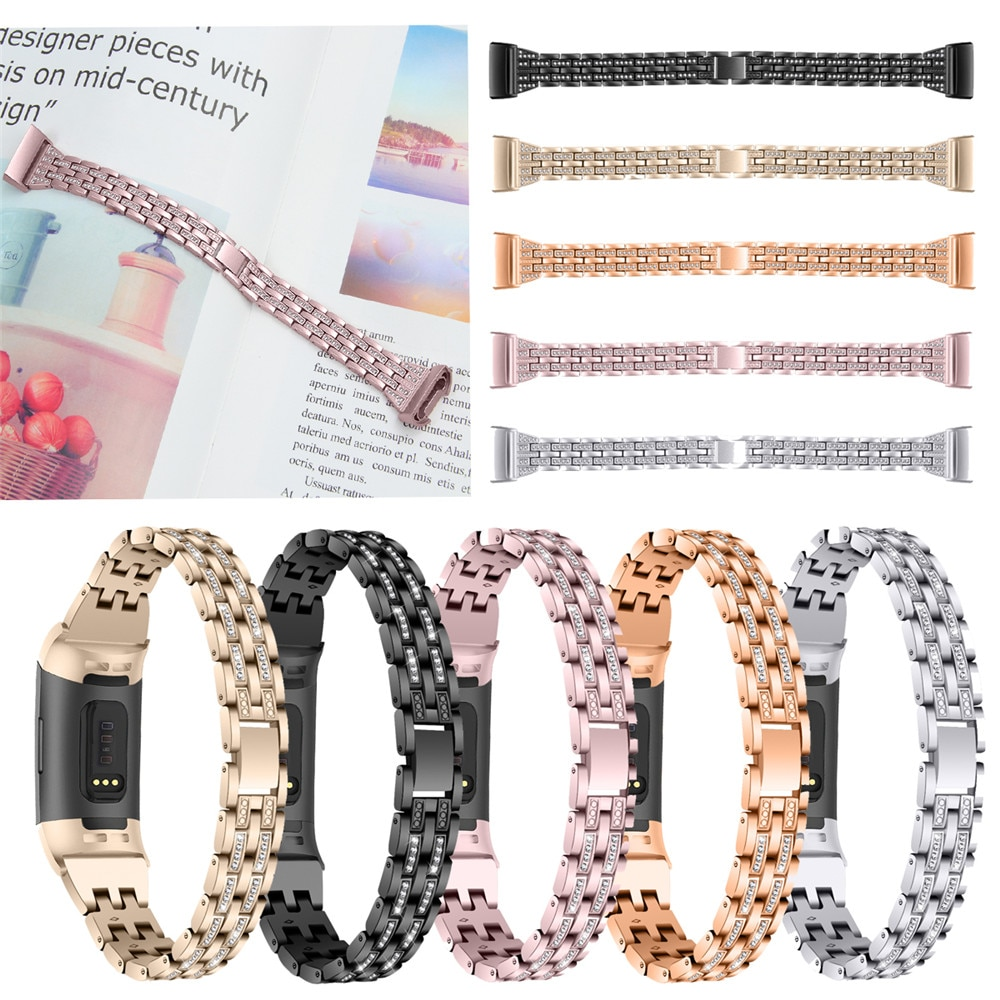 Rhinestone Strap For Fitbit Charge 3 band Metal Strap Stainless Steel Female Replaceable Bracelet For fitbit charge3 watch Band watch strap new accessory watch strap solid stainless steel fashion luxury women metal strap bands for fitbit ionic strap