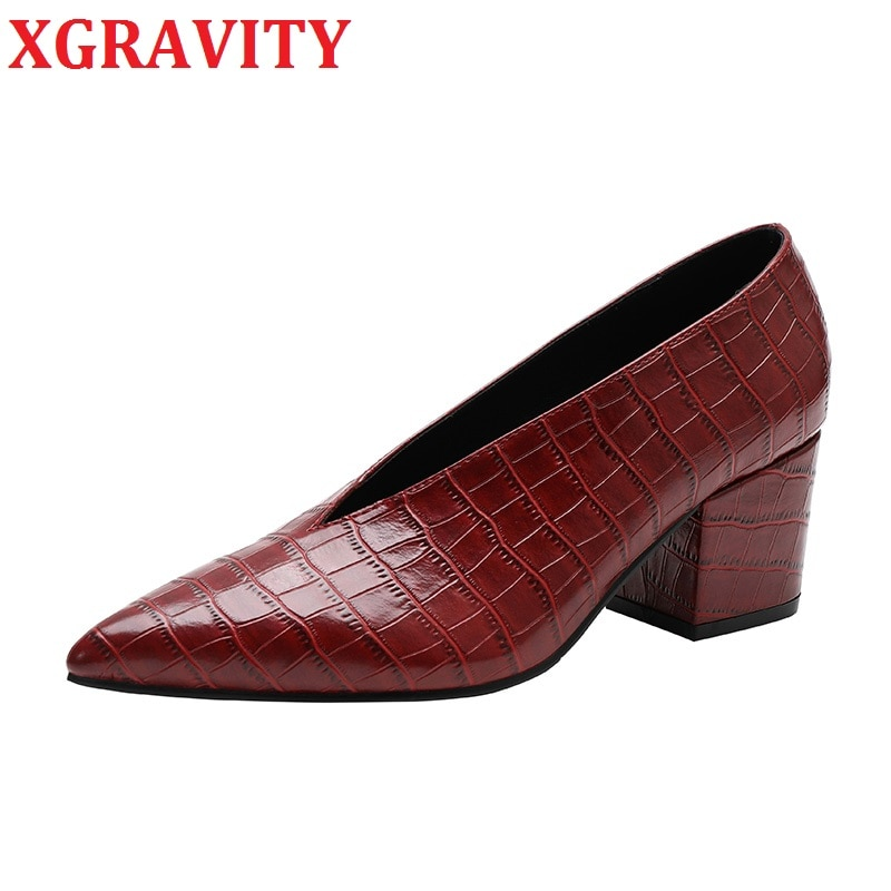XGRAVITY-أحذية جلد الثعبان C325 ، جديدة ، الخريف والشتاء ، أحذية أنيقة ، جلد التمساح ، مقدمة مدببة ، مثير