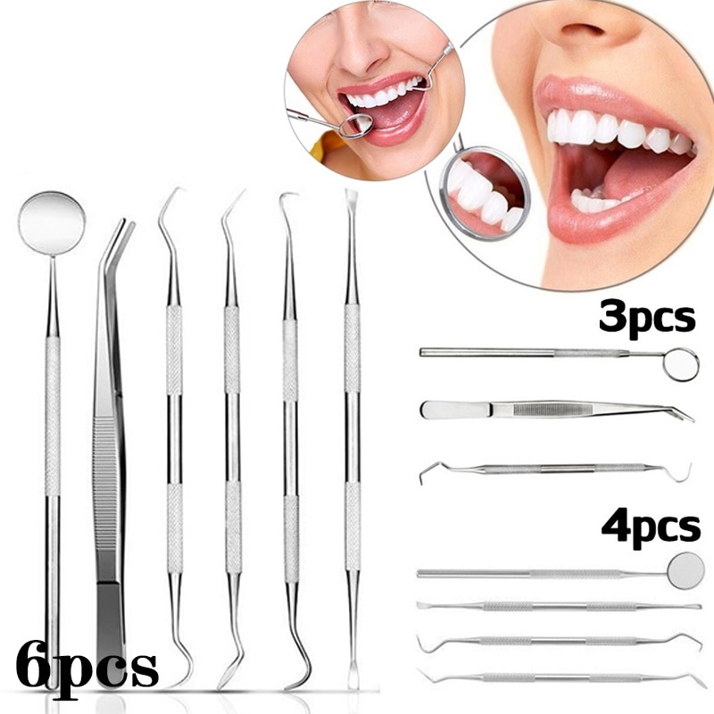 6pc/3pc Dental Mirror Stainless Steel Dental Dentist Prepared Tool Set Probe Tooth Care Kit Instrument Tweezer Hoe Sickle Scaler