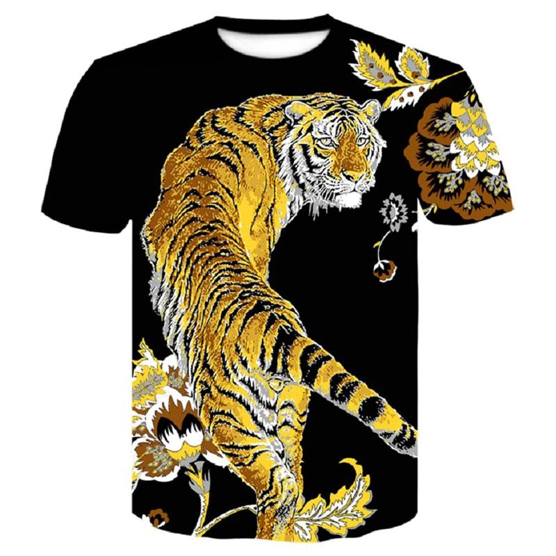 2021 New Wolf/tiger T Shirt Men Anime Tshirt China 3d Print T-shirt Hip Hop Tee Cool Mens Clothing New Summer Big Size Top