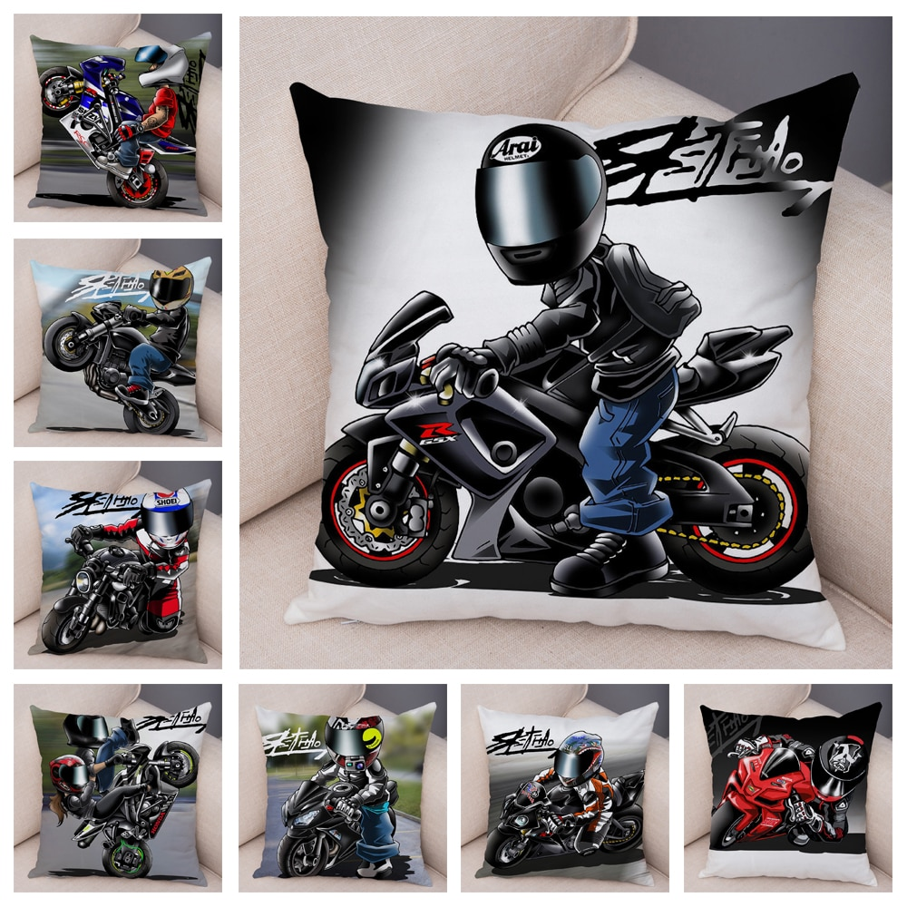 Extreme Sports Cushion Cover Decor Cartoon Motorcycle Pillowcase Soft Plush Colorful Mobile Bike Pillow Case for Sofa Home Car