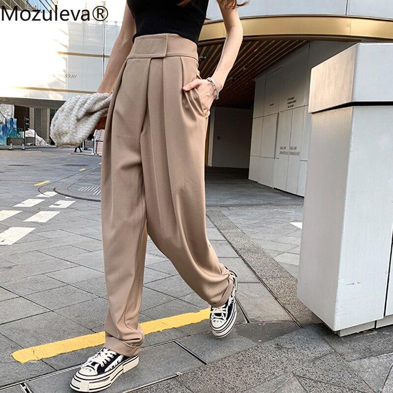 Mozuleva, pantalones de Harem a la moda para mujer, pantalones holgados informales de cintura alta para mujer, pantalones, ropa femenina, Capris acanalados elegantes 2020