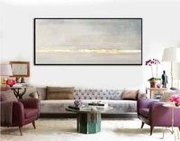large abstract oil painting gray painting gold leaf wall art painting on canvas abstract texture art wall painting living room