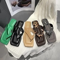 summer women slippers square head flat sandals outdoor casual fashion beach flip flops comfortable open toe indoor slippers