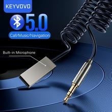 Keyvovo-adaptador Aux Bluetooth para coche inalámbrico, receptor USB a conector de 3,5mm, Audio, música, micrófono, adaptador de manos libres, altavoz, Dongle