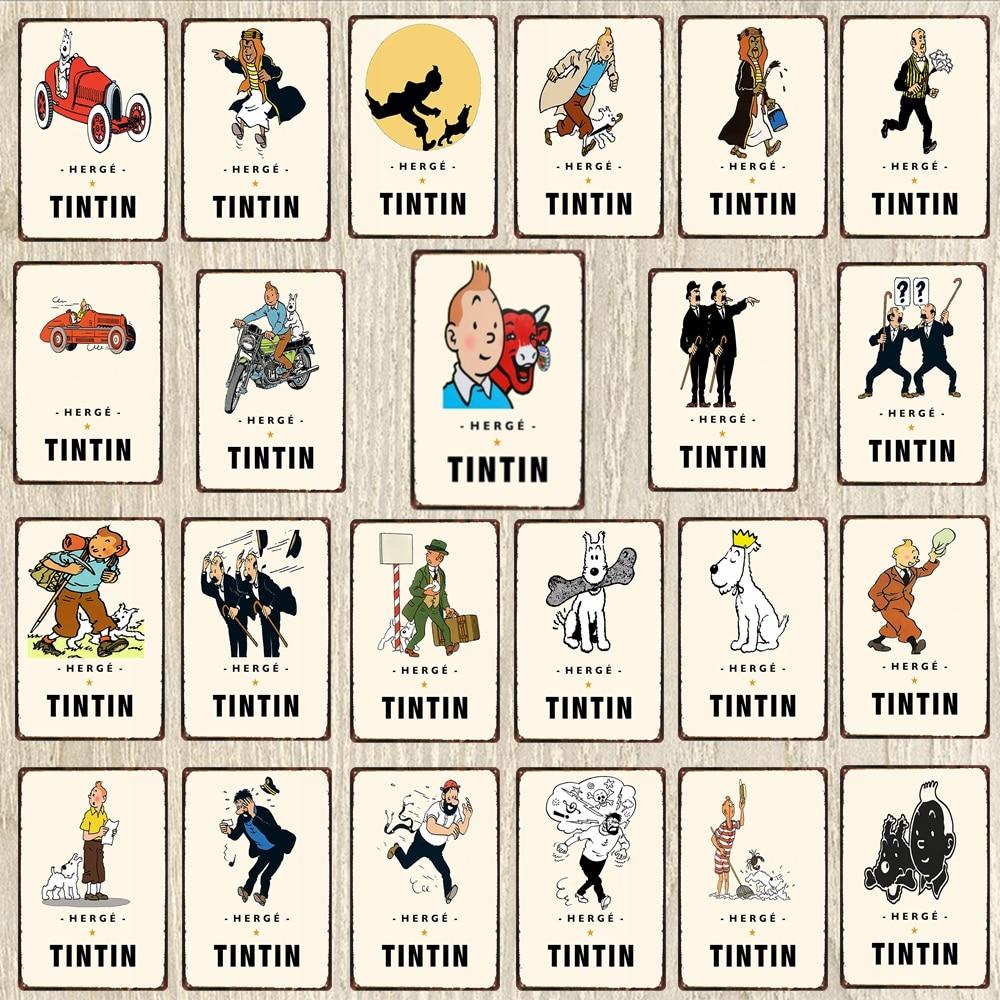 【Yzfqsign Tintin Metal Sign Cartoon Car Poster perro Metal placa para pared arte hogar niños habitación Retro Decoración cartel 30X20CM DU-6284A