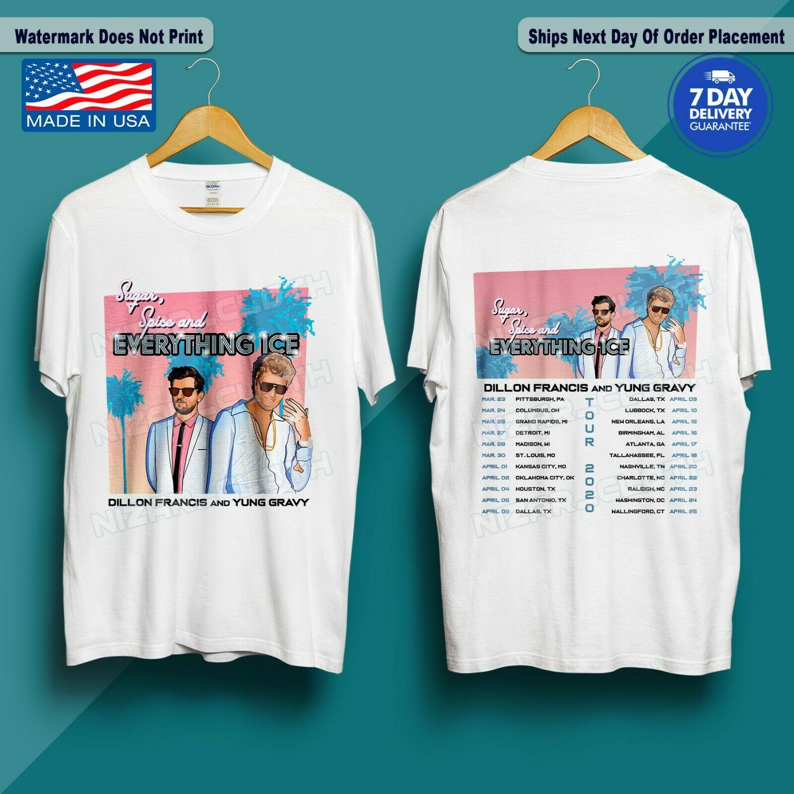 Camiseta dillon francis x yung molho 2020 açúcar, especiarias e tudo gelo tour