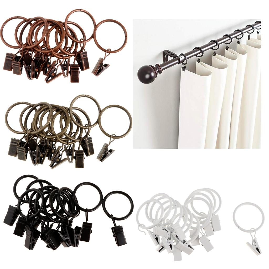 12 pièces anneaux rideau Clips fort fer décoratif draperie fenêtre rideau anneau avec pince antirouille Vintage
