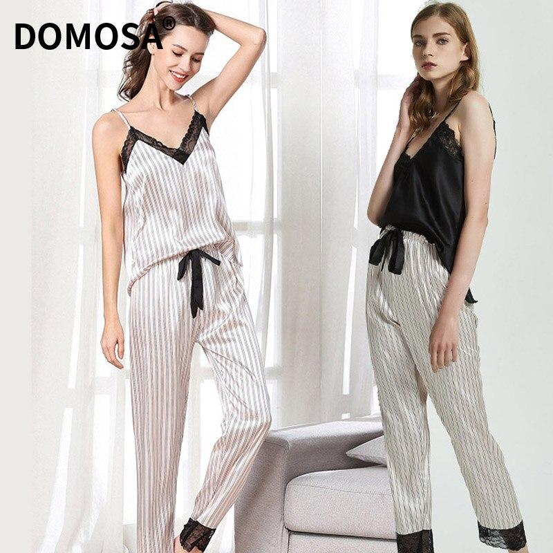 Rendas com Decote em v Conjunto para Mulher Pijamas de Cetim de Seda Verão Sexy Listra Suspensórios Calças Pijamas Loungewear