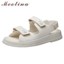 Meotina Shoes Women Flat Sandals Round Toe Flat Platform Shoes Ladies Summer Sneakers Sandals Female Beige Black Large Size 40