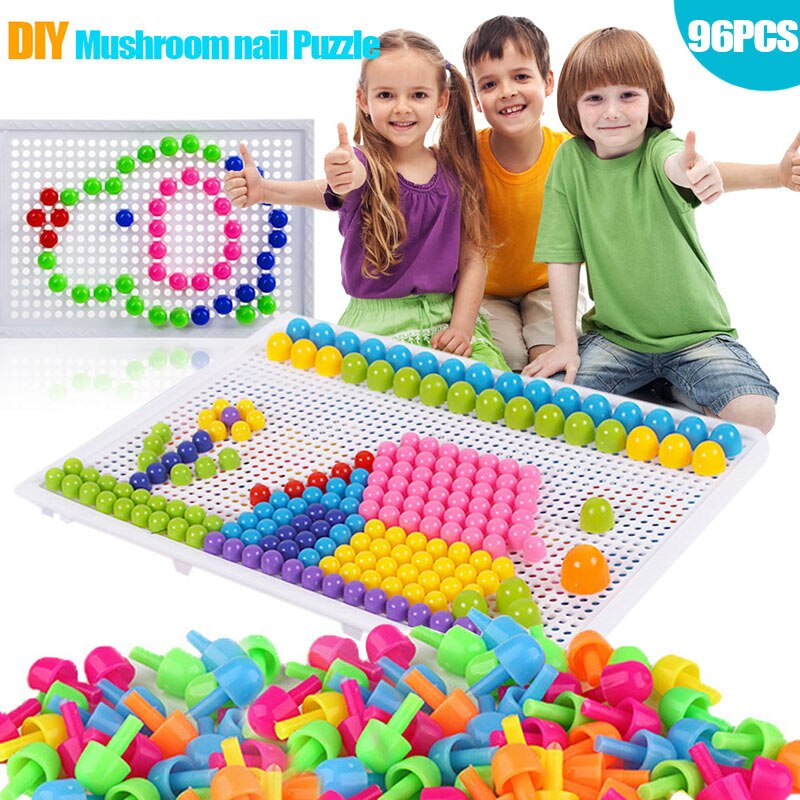 Children Toys Puzzle Peg Board With 96 Mushroom Pegs Model Kits Educational Building Toy for Kids Gift Random Color NIN6