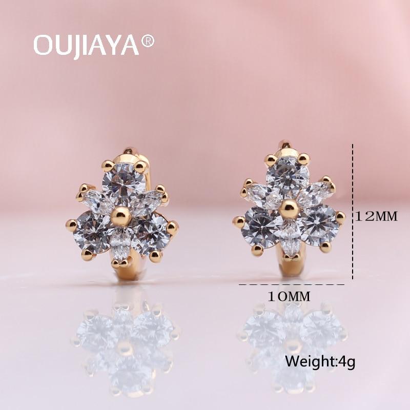 OUJIAYA New Women Round Dangle Earrings 585 Rose Gold Natural Zircon Drop Earrings Korea Style Fashion Jewelry Girls Gift A163  - buy with discount