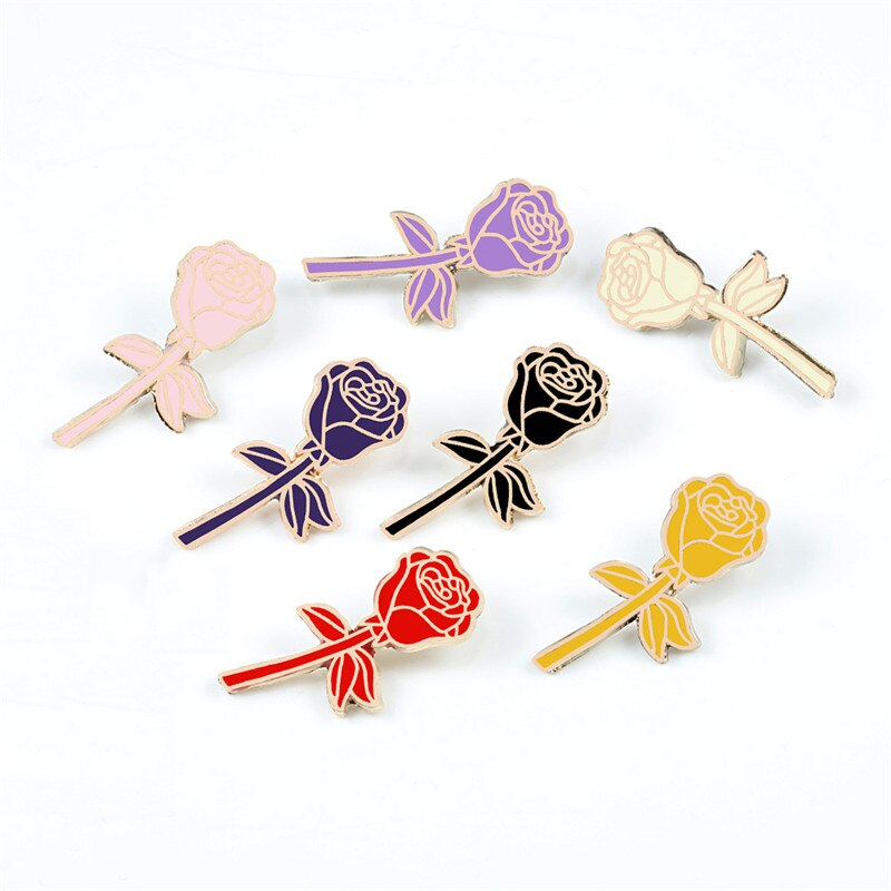 Femmes nouvelles fleurs émail broche noir Rose rouge 7 couleur Rose épinglettes Badge Denim chemise sacs accessoires cadeau romantique pour fille