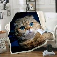 Mascotas doblez escocés gato perro manta 3D de felpa de la familia de la colcha de La Colcha de la silla del sofá cama