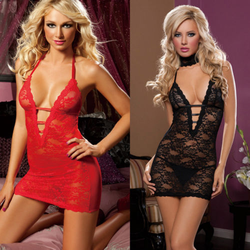 Hot Fashion Porn Sexy Mini Dress Underwear Womens Lace Lingerie Babydolls V-Neck Backless Bandage Straps Sleepwear
