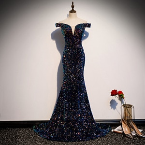Evening Dress 2021 The Party Prom Formal Evening Dresses Luxury Sequin Boat Neck Court Train Mermaid Dress Robe De Soiree
