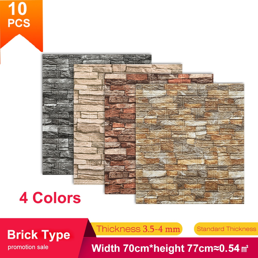 5/10pcs 70*77cm TV Background Brick Wall Sticker Waterproof Anti-Collision Foam Wallpaper Self-Adhesive For Living Room Bedroom