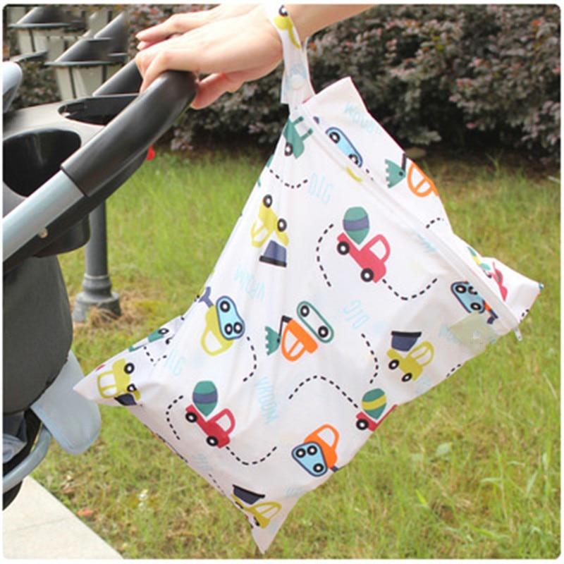 clearance!!!30*40cm Baby Diaper Bag Infant Waterproof Reusable Wet Dry Bag Print Pocket Nappy Bag Travel Single Layer Diaper Bag