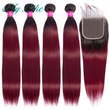 Straight Hair Bundles with Closure 1b/99j Red Burgundy Ombre Brazilian Hair Weave Bundles 100% Human Hair Bundles with Closure