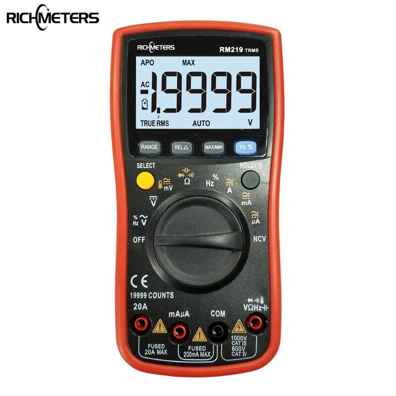 Multímetro Digital RM219 True-RMS de 46% recuentos, frecuencia NCV, amperímetro de voltaje...