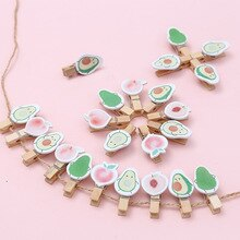 8 pcs/Pack Lovely Fresh Peach Avocado Wooden Paper Clip Bookmark For Album Stationery Kids Gift