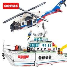 Ville services durgence sauvetage hélicoptère bateau bateau blocs de construction brique assemblé modèle enfants jouets Brinquedos cadeau